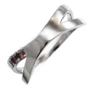 ガーネット 平らな指輪 クロス ジュエリー Pt900 1月の誕生石 X型|skybell