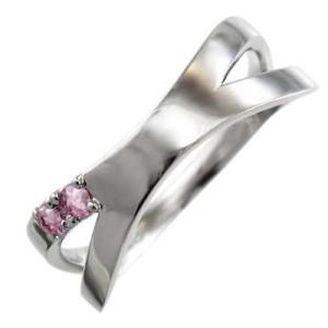 平らな指輪 クロス ジュエリー ピンクトルマリン Pt900 10月の誕生石 X型|skybell