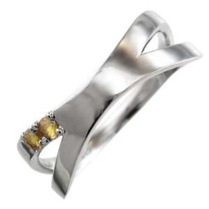 プラチナ900 平らな指輪 シトリン(黄水晶) 11月の誕生石 クロス ジュエリー X型|skybell