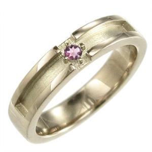 10金イエローゴールド 指輪 クロス ジュエリー 1粒 石 10月誕生石 ピンクトルマリン|skybell
