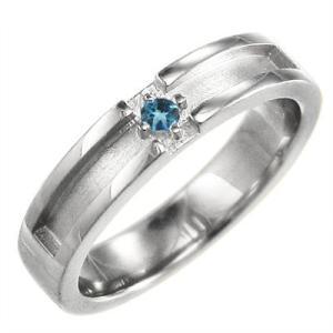 ブルートパーズ 小指 指輪 十字架 一粒 プラチナ900 11月の誕生石 skybell