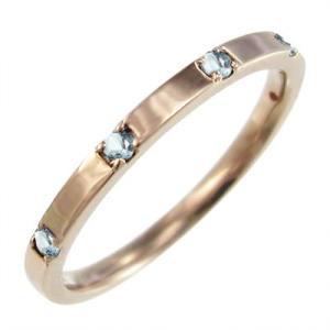 平打ち 指輪 アクアマリン ファイブストーン k10ピンクゴールド 3月誕生石|skybell