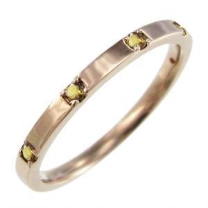 10金ピンクゴールド 平打ち 指輪 ファイブストーン 11月誕生石 (黄水晶)シトリン|skybell