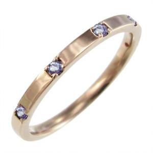 タンザナイト 平打ち 指輪 ファイブストーン 12月の誕生石 ピンクゴールドk10|skybell