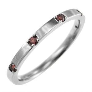 平打ち 指輪 ファイブストーン ガーネット 1月の誕生石 10金ホワイトゴールド|skybell