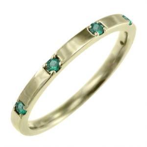 平打ち 指輪 k10イエローゴールド ファイブストーン エメラルド 5月誕生石|skybell