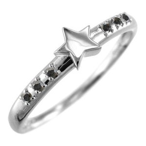 ブラックダイヤモンド(黒ダイヤ) リング スター ジュエリー 4月の誕生石 18金ホワイトゴールド|skybell