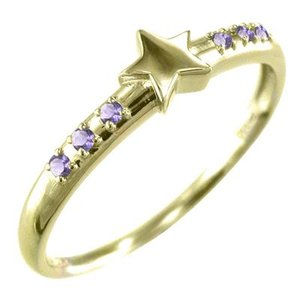 ピンキー 小指 リング 星 アメシスト(紫水晶) 2月誕生石 18金イエローゴールド|skybell