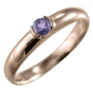 甲丸リング 一粒石 アメシスト(紫水晶) 10金ピンクゴールド 2月の誕生石|skybell