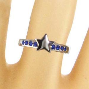 指輪 星デザイン サファイヤ 9月の誕生石 18金ホワイトゴールド|skybell|02