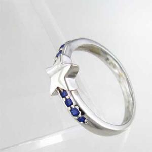 指輪 星デザイン サファイヤ 9月の誕生石 18金ホワイトゴールド|skybell|04