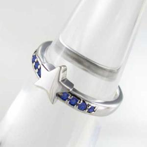 指輪 星デザイン サファイヤ 9月の誕生石 18金ホワイトゴールド|skybell|05