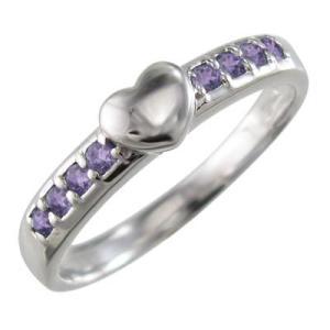 Pt900 指輪 アメジスト(紫水晶) 2月誕生石 ハート 型|skybell