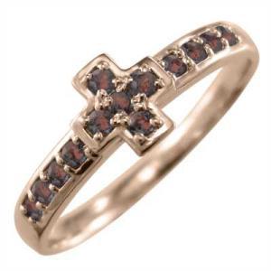 指輪 ピンクゴールドk10 デザイン クロス ガーネット 1月の誕生石|skybell