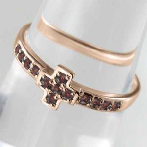 指輪 ピンクゴールドk10 デザイン クロス ガーネット 1月の誕生石|skybell|03