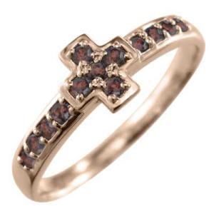 指輪 ピンクゴールドk10 デザイン クロス ガーネット 1月の誕生石|skybell|04