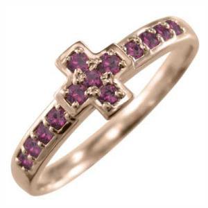 指輪 18金ピンクゴールド クロス ジュエリー ルビー 7月誕生石|skybell