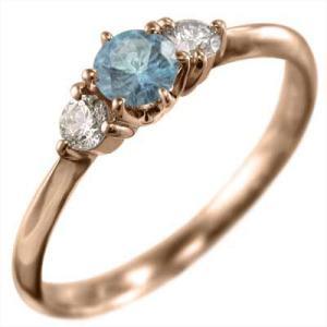 リング ブルートパーズ(青) 天然ダイヤモンド ピンクゴールドk18 11月の誕生石|skybell