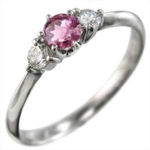 k18ホワイトゴールド リング 10月誕生石 ピンクトルマリン 天然ダイヤモンド|skybell