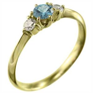 k18イエローゴールド 指輪 ブルートパーズ 天然ダイヤモンド 11月の誕生石|skybell