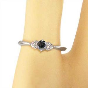 指輪 ブラックダイア 天然ダイヤモンド Pt900 4月の誕生石|skybell|02