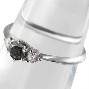 指輪 ブラックダイア 天然ダイヤモンド Pt900 4月の誕生石|skybell|03