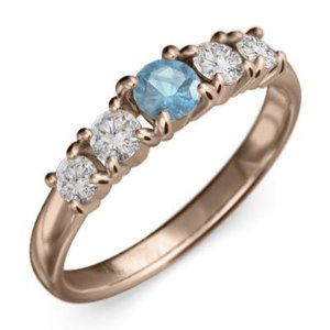 k18ピンクゴールド 指輪 5石 11月の誕生石 ブルートパーズ 天然ダイヤモンド|skybell