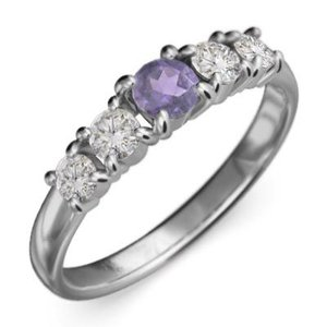 k18ホワイトゴールド 指輪 5石 アメシスト 天然ダイヤモンド 2月誕生石|skybell