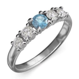 指輪 ホワイトゴールドk18 5石 ブルートパーズ 天然ダイヤモンド 11月の誕生石|skybell