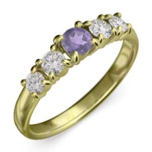 アメジスト 天然ダイヤモンド 指輪 5石 2月誕生石 K18|skybell