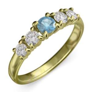 指輪 k18イエローゴールド 5石 ブルートパーズ 天然ダイヤモンド 11月誕生石|skybell