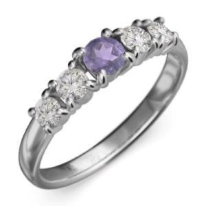 アメシスト 天然ダイヤモンド 指輪 5石 2月誕生石 プラチナ900|skybell