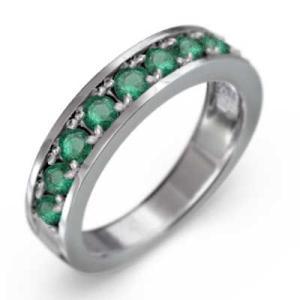 ハーフ エタニティ 指輪 エメラルド プラチナ900 5月の誕生石 skybell