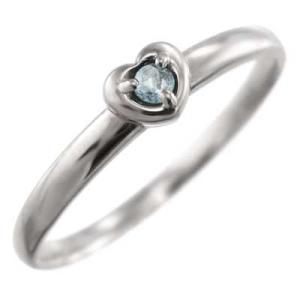 指輪 アクアマリン スウィート ハート 1粒 石 Pt900 3月誕生石|skybell