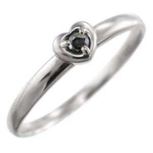 指輪 1粒 石 スイート ハート ブラックダイアモンド 4月の誕生石 Pt900|skybell