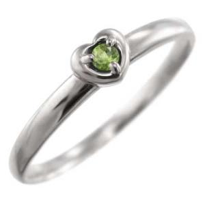 プラチナ900 指輪 1粒 石 ペリドット 8月誕生石 スウィート ハート|skybell