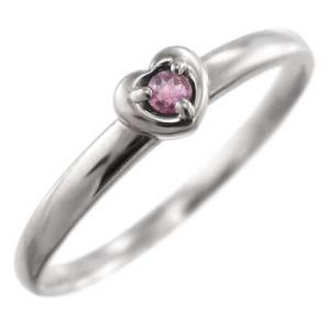 指輪 白金(プラチナ)900 スウィート ハート 1粒 石 ピンクトルマリン 10月誕生石|skybell