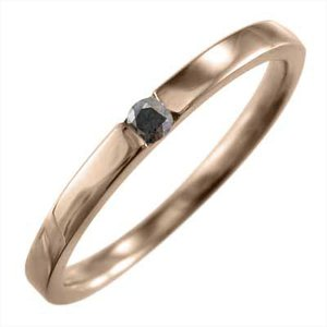 ブラックダイヤ(黒ダイヤ) 平打ち 指輪 一粒石 k10ピンクゴールド 4月誕生石|skybell