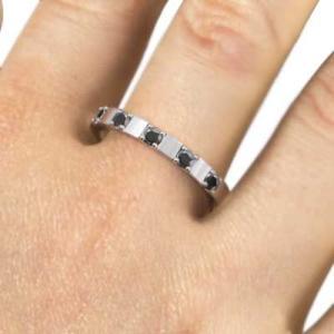 プラチナ900 平打ち 指輪 ファイブストーン ブラックダイヤモンド 4月の誕生石|skybell|02
