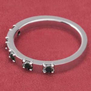 プラチナ900 平打ち 指輪 ファイブストーン ブラックダイヤモンド 4月の誕生石|skybell|03