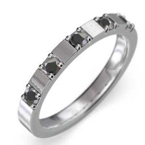 プラチナ900 平打ち 指輪 ファイブストーン ブラックダイヤモンド 4月の誕生石|skybell|04