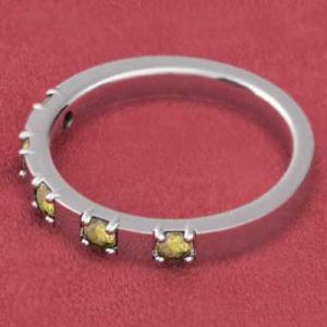 プラチナ900 平打ちの 指輪 5ストーン シトリン|skybell|03