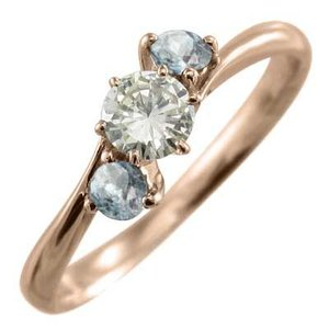 指輪 アクアマリン 天然ダイヤモンド 10kピンクゴールド|skybell