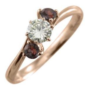 リング ガーネット 天然ダイヤモンド 1月の誕生石 k10ピンクゴールド|skybell