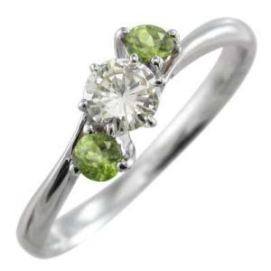 指輪 ペリドット 天然ダイヤモン...
