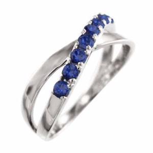 指輪 デザイン クロス サファイヤ Pt900 9月誕生石 X型|skybell