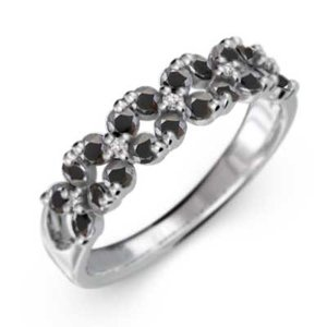 白金(プラチナ)900 リング ブラックダイヤモンド(黒ダイヤ) 4月誕生石 フラワー|skybell