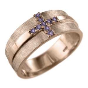 18kピンクゴールド クロス ヘッド 指輪 アメシスト(紫水晶)|skybell