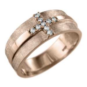 指輪 クロス ジュエリー アクアマリン k18ピンクゴールド|skybell