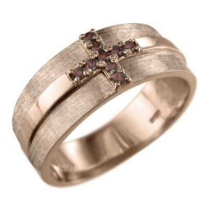 ガーネット 指輪 デザイン クロス 1月の誕生石 k18ピンクゴールド|skybell
